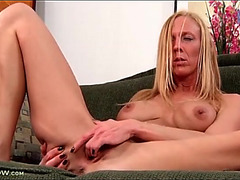 Finger fucking mother i'd like to fuck plays with her fake love melons