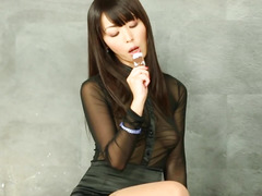 Gloryhole oriental playgirl licking cum off ground