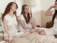 Mormon legal age teenager three-some licking