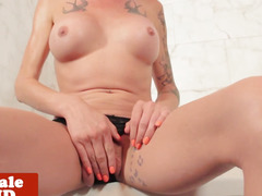 Bigtitted tattooed ladyman tugs in advance of shower
