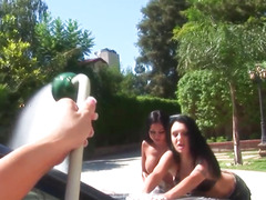 Bikini sappho toyed in love tunnel and arse in three-some