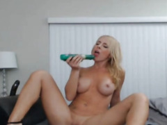 Dilettante Blond Sweetheart Masturbating with Marital-Device