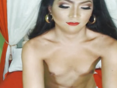 Oriental Honey Shemale Strokes Her Shlong Wildy