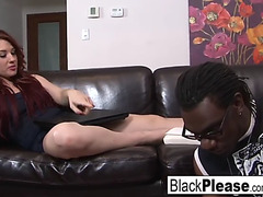 Red head receives drilled by darksome knob