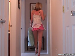 Seanna shows her small white belt up her petticoat
