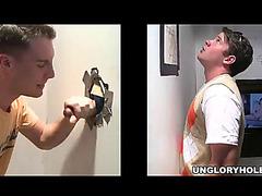 Slutty twink sucks a guy's hard knob throughout a gloryhole