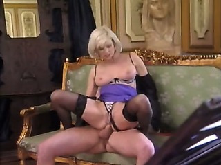 Porn Tube of Posh Pierced Granny In Stockings Fucks