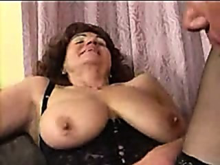 Porn Tube of Granny In Stockings Spreads For Cock