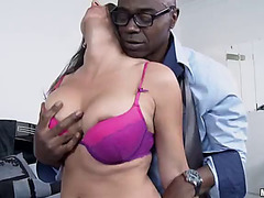 Kaylynn sucks on a big dark pecker in interracial scene
