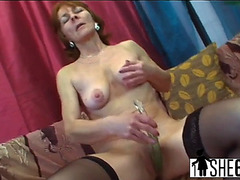 Awesome old whore is having pleasure with herself in advance of wet crack wrecking