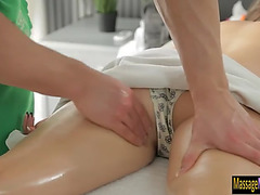 Hawt client fantina massaged and receives pounded by masseur