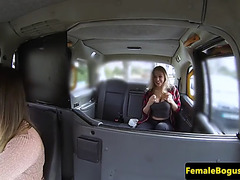 Lesbian cabbie scissoring with her passenger