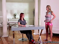 Lesbo masseuse fingered