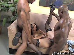 Awesome interracial 3some with the concupiscent friend style
