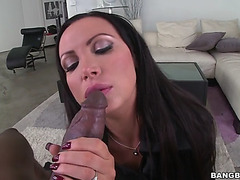 Nikki benz lighting her cigarette and blowing smoke as that babe sucks bbc