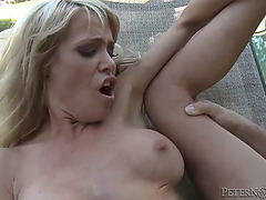 Coarse sex by the pool with the sexy golden-haired mikky lyn
