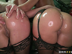Sheena shaw and jada stevens take turns getting their booties pounded