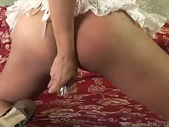 Concupiscent t-girl fingers her dark hole and jerks off