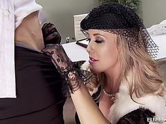 Concupiscent lady brandi love does a hot job of blowing his pole