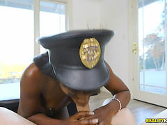 Ana foxxx wearing police hat deepthroats his toobsnake
