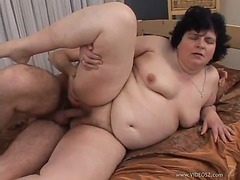 Aged big beautiful woman is screwed by a slutty boy that leaves her exhausted