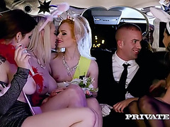 A bride and her bridesmaids receive wild in a limo with a favourable driver