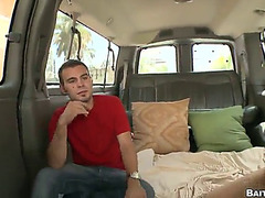 Coarse gay sex with lustful boyfrends in the back of a car