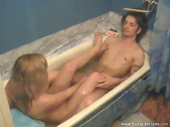Lustful legal age teenager pair fuck in the bathtub in non-professional episode