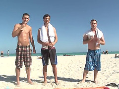 Hawt homo trio among weenie thirsty hunks