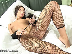 Monika vesela takes off her raiment and plays with her bald cum-hole