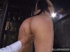 Oriental playgirl is masturbated whilst bound up