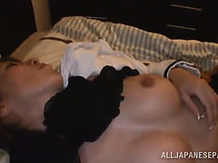 Pretty oriental non-professional with natural boobs getting fingered