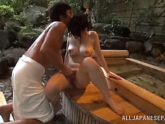 Japanese playgirl is screwed by a boy in sexy springs