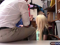 Blond legal age teenager shoplifter acquires chastise drilled from behind