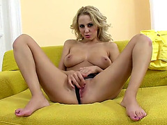 Hot blond plays with her pink cum-hole and even fists herself
