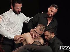 Homosexual model enjoys group sex