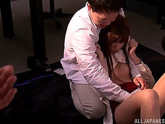 Seductive japanese redhead getting drilled hardcore