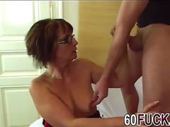 Old lady jana receives drilled after giving sloppy oral sex to younger lad