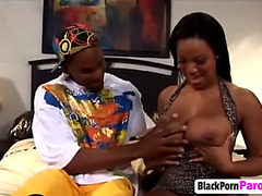 Breasty dark beauty gangbanged by ally
