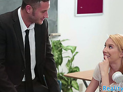Cockriding schoolgirl swallows teachers cum
