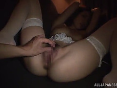 Cute oriental dilettante with an enticing perverted cum-hole gives a stimulating oral-service as that babe bows for a hardcore drill