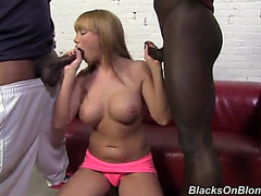 Maya hills is facialized after a three-some with dark dicks
