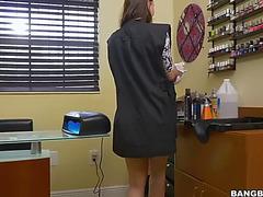 Manicurist babe aidra fox acquires a dark ramrod in a barber shop
