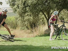 Stella cox has an outdoor anal fuck during mountain biking