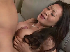 Sexy japanese mamma rei kitajima lets 2 guys cum inside her older snatch