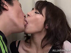 Blistering older oriental playgirl with diminutive love bubbles thrilled as her curly cunt receives fingered previous to being fucked