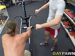 Jovial homo in short groans during the time that his anal is smashed hardcore in three-some sex