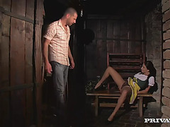 Graceful waitress anissa kate receives her french muff drilled in tavern