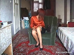 Beautiful redhead with diminutive wobblers giving blow job previous to screaming whilst getting her butt aperture pounded in saucy ffm 3some