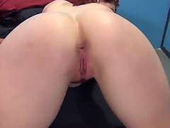 Shapely redhead cowgirl licking massive balls in group sex